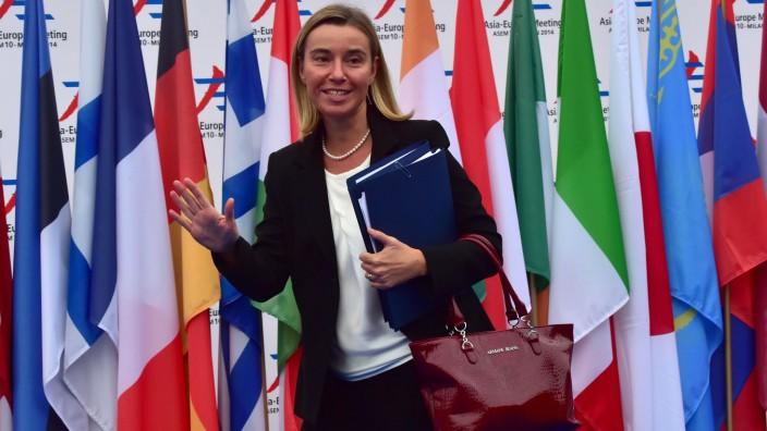 Rolle Russlands im Ukraine-Konflikt: Federica Mogherini wenige Wochen bevor sie EU-Außenbeauftragte wurde.