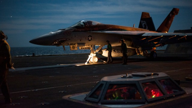 USS Carl Vinson EO directs aircraft