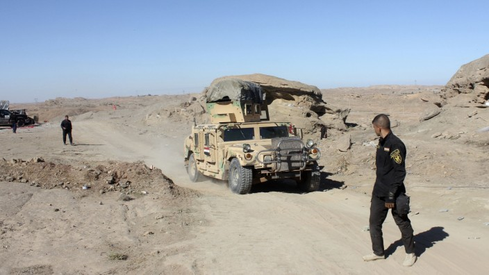 A military vehicle of the Iraqi security forces is seen during an intensive security deployment against Islamic State militants in Diyala province