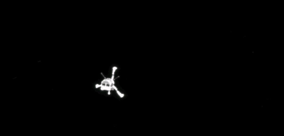 A ESA handout photo taken by Rosetta's OSIRIS narrow-angle camera shows the Philae lander after separation