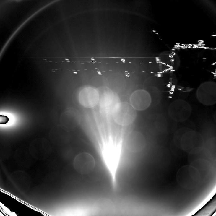 A handout image of lander Philae's parting image of spacecraft Rosetta taken shortly after separation