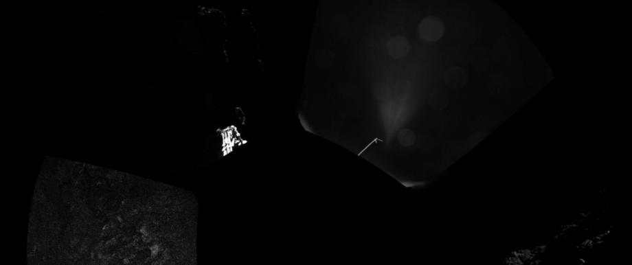 Rosetta-Mission: Das erste Panoramabild, das Philae auf dem Kometen geschossen hat - ein Fuß der Sonde ist noch zu erkennen. Die Sonde befindet sich wohl unter einer Klippe, befürchten die Forscher.