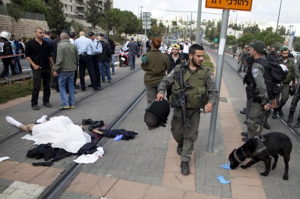***BESTPIX***A Driver Rams His Car Into Pedestrians In Suspected East Jerusalem Terror Attack