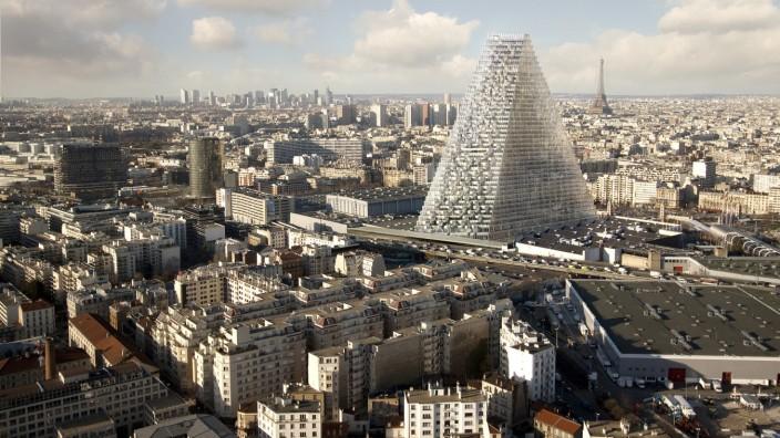 """Hochhäuser für die Oberschicht: Die neuen Hochhäuser sind allein für die Oberschicht: Eine Computersimulation der Architekten Herzog & de Meuron zeigt die """"Tour Triangle"""" in Paris, auch """"Tour Pyramide"""" genannt"""