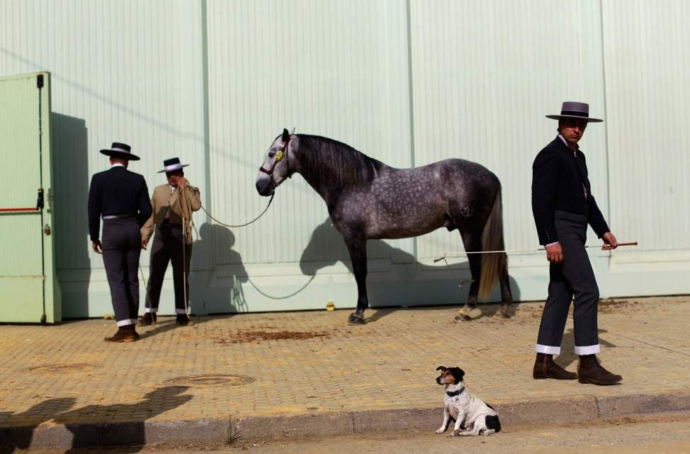 Andalusian horsemen wait before taking part in a morphological contest during the Sicab International Pre Horse Fair in Seville
