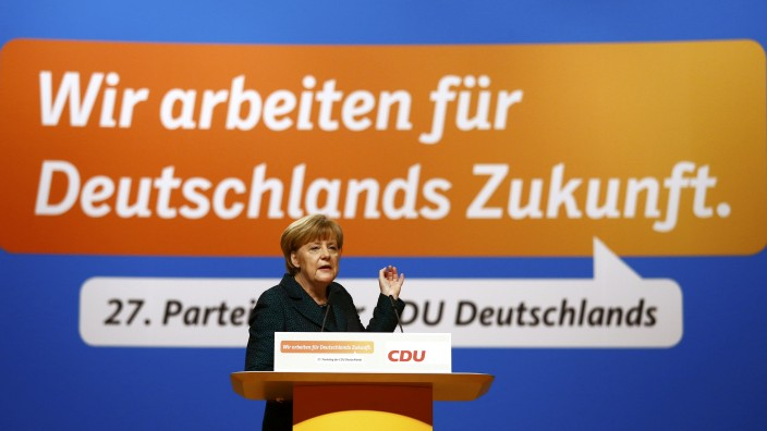 German Chancellor and CDU leader Merkel addresses party convention in Cologne