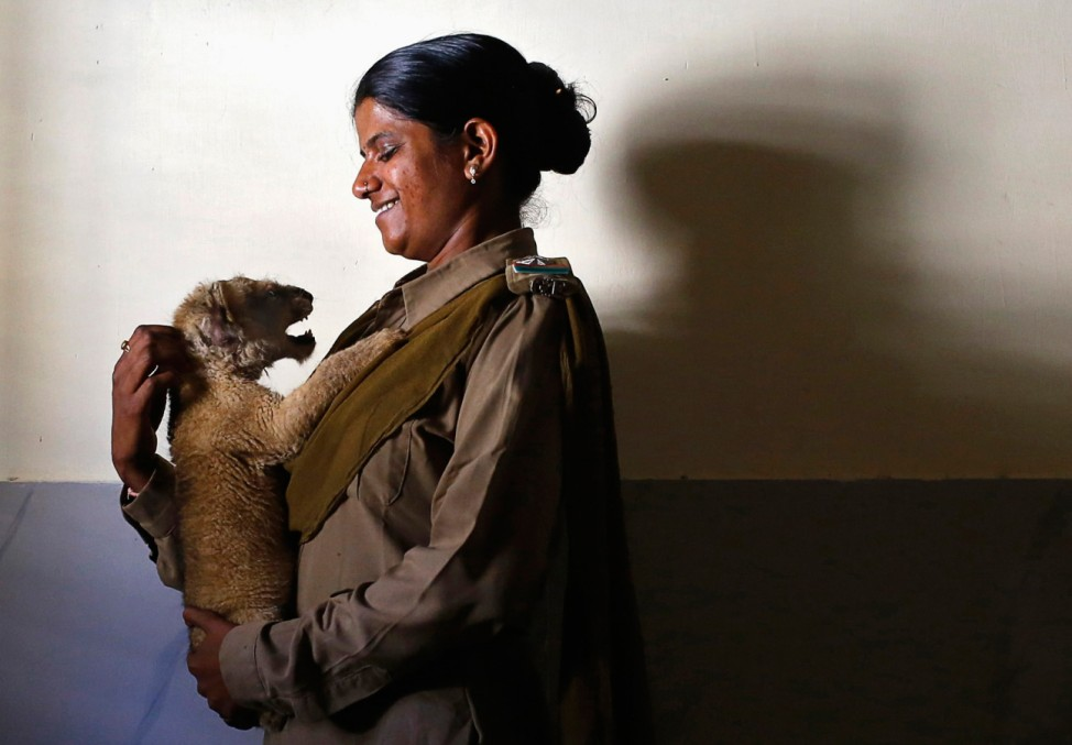 Forest guard Ben holds a lion cub inside an animal hospital located in the Gir National Park and Wildlife Sanctuary in Sasan