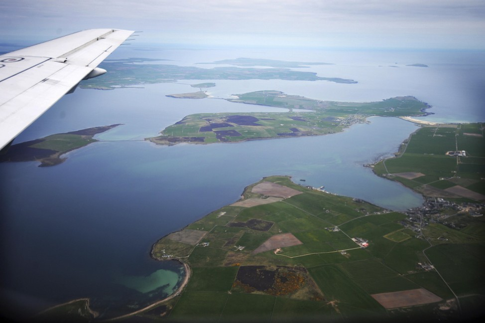 An aerial view of the Orkney Islands, Scotland