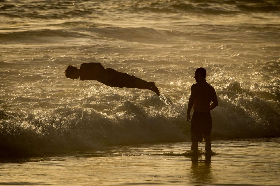 wave at Ipanema beach in Rio de Janeiro, Brazil,
