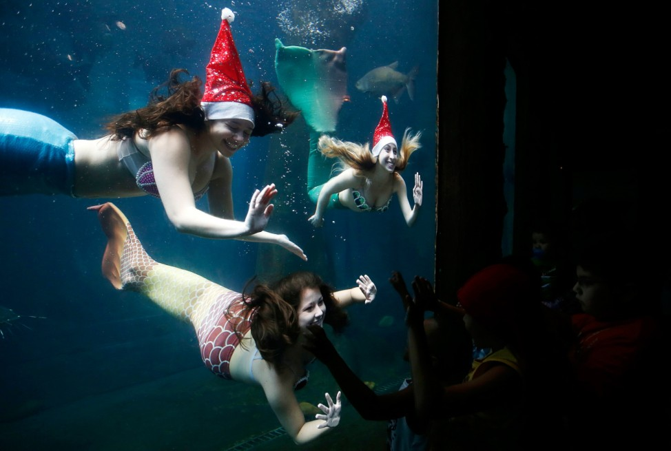 Women dressed as mermaids wearing a Santa Claus hat perform to students from inside a tank at the Sao Paulo Aquarium