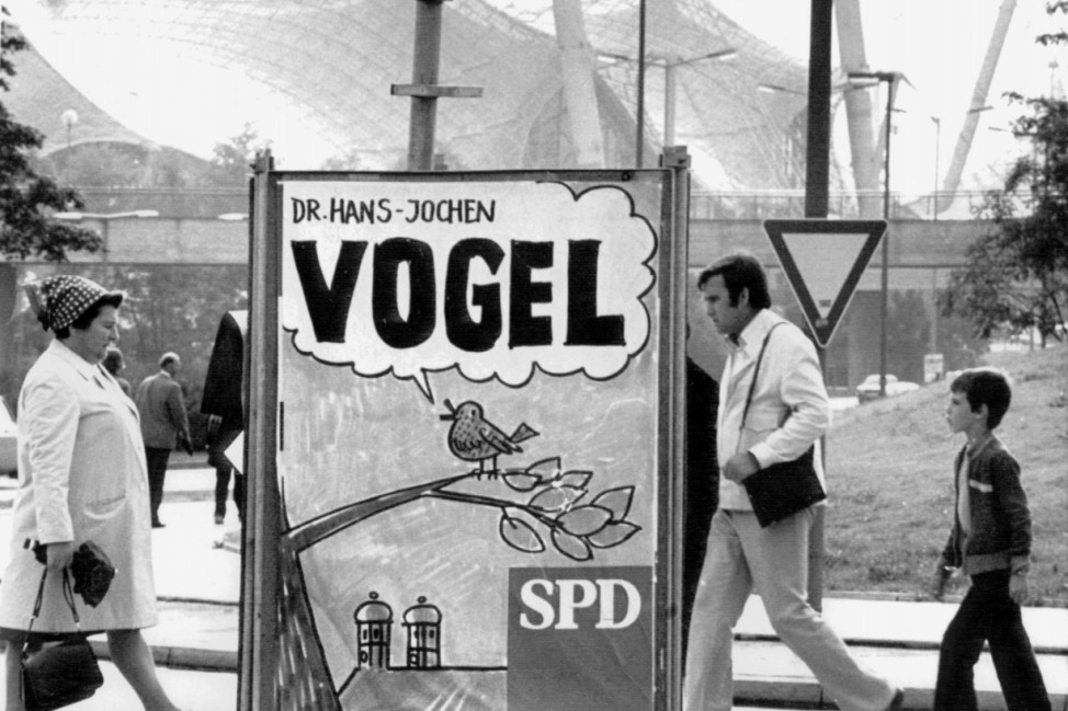 SPD-Wahlplakat während des Bundestagswahlkampfes 1976