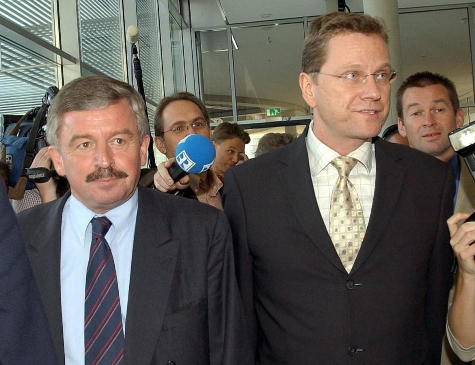 Jürgen Möllemann und Guido Westerwelle vor Fraktionssitzung der FDP, 2002