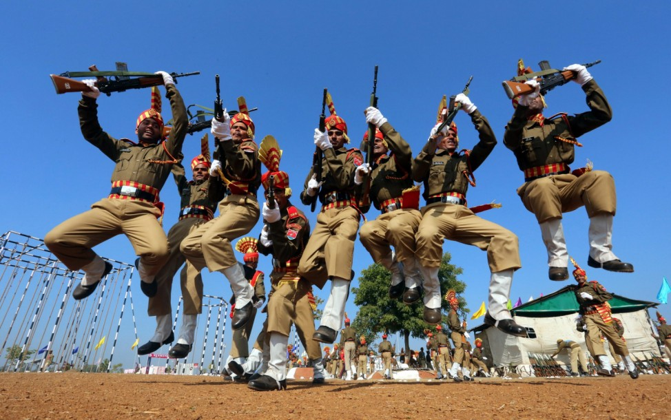 Sashastra Seema Bal (SSB) personnel take part in a passing out pa