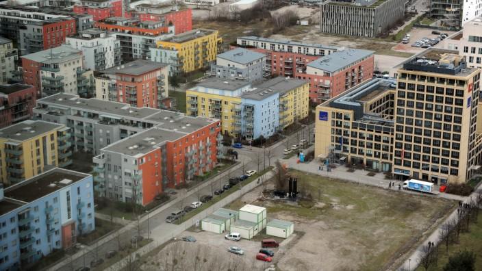 Neues Wohnviertel: Bunt aber leblos: die Parkstadt Schwabing.