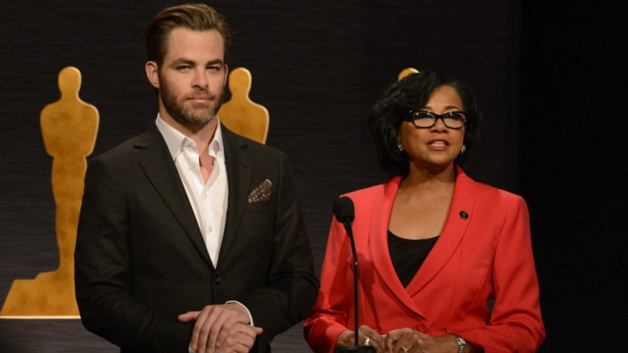 Chris Pine and Cheryl Boone Isaacs announce the nominees for the 87th Academy Awards in Beverly Hills, California