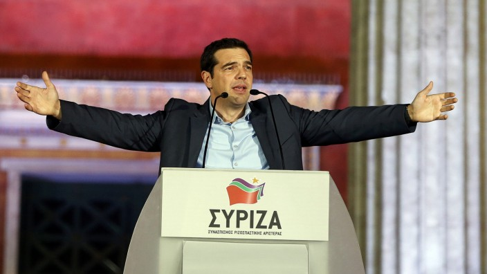 Head of radical leftist Syriza party Tsipras speaks after winning elections in Athens.