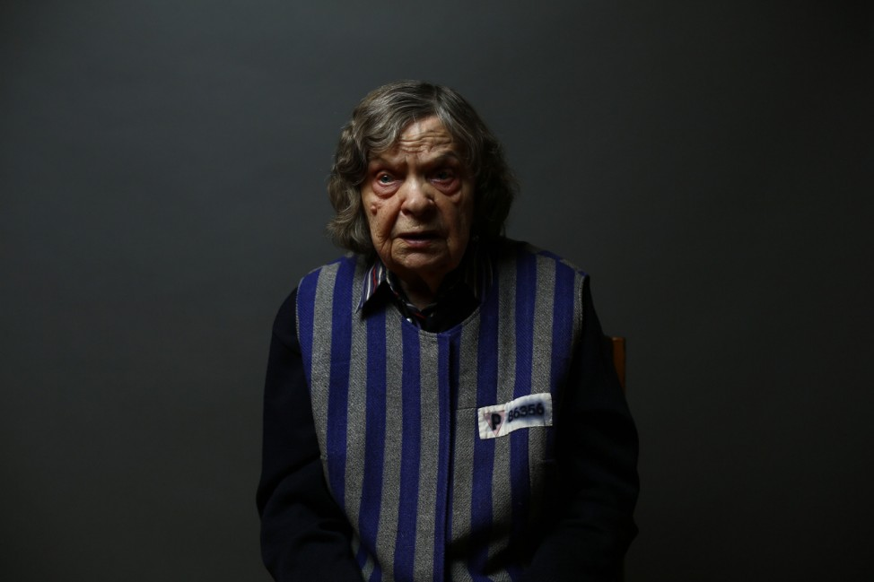 Auschwitz death camp survivor Jadwiga Bogucka poses for a portrait in Warsaw