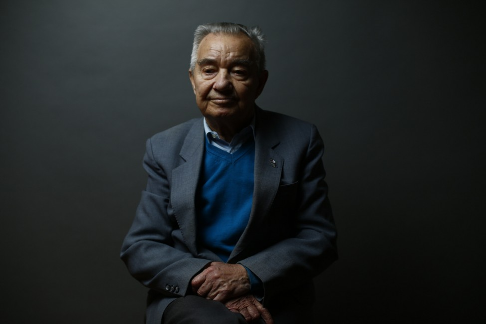 Auschwitz death camp survivor Stefan Sot poses for a portrait in Warsaw