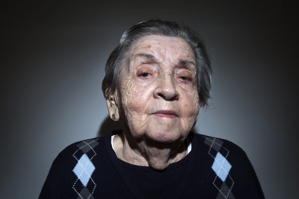 Holocaust survivor Golda Pollac, 89, poses for a portrait in the Brooklyn borough of New York