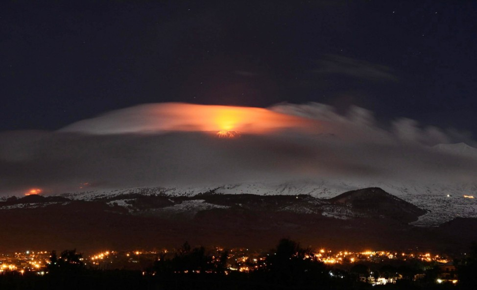 Etna volcano erupting