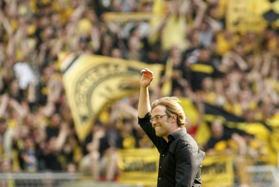 Borussia Dortmund's coach Klopp reacts after the German Bundesliga soccer match against Hamburger SV in Dortmund