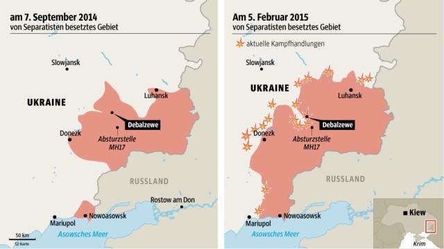 Verhandlungspositionen der Ukraine: Die Separatisten haben in den vergangenen Wochen große Gebietsgewinne erzielt.