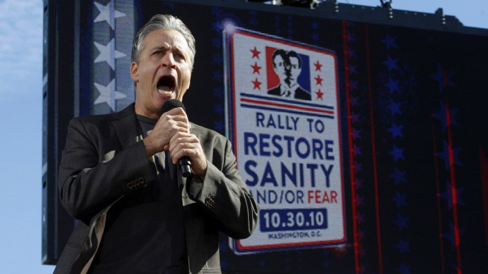 Comedian Stewart addresses the crowd during his 'Rally to Restore Sanity and/or Fear' in Washington