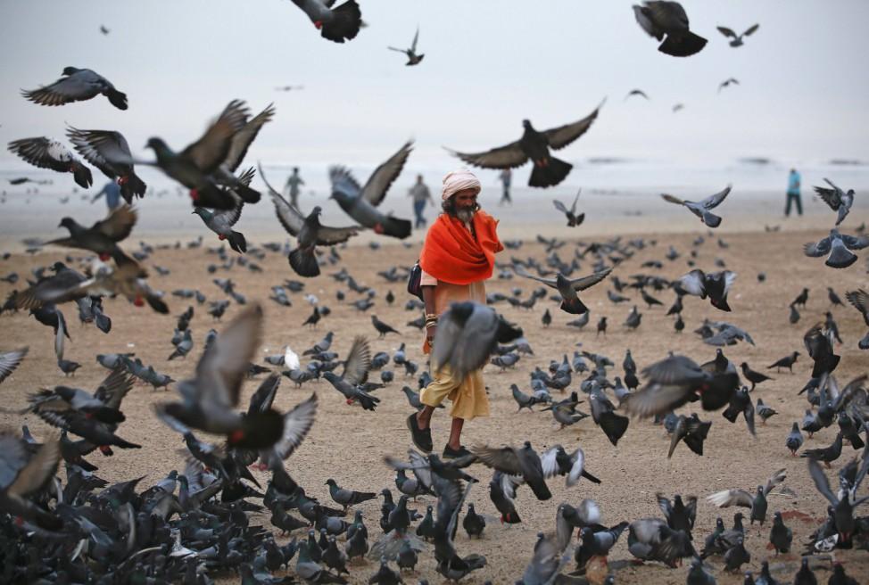A Hindu holy man asks for alms as he walks amongst birds flying at a beach along the Arabian Sea in Mumbai