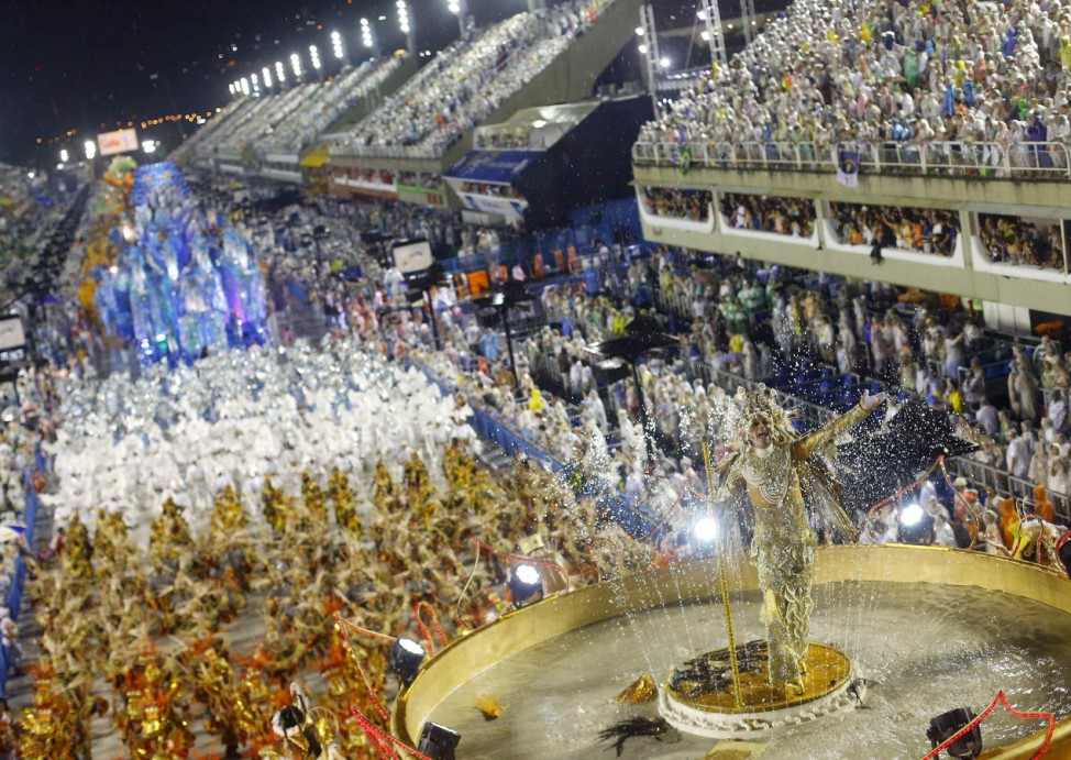 Revellers from the Viradouro samba school participate in the annual carnival parade in Rio de Janeiro's Sambadrome