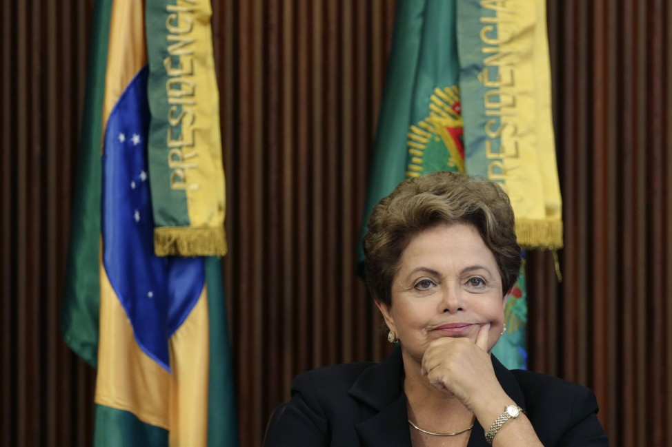 Brazil's President Rousseff reacts during a meeting of the CNDI at the Planalto Palace in Brasilia