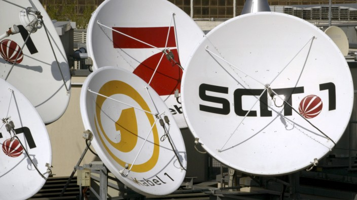 File photo of satellite dishes of the German television stations Kabel 1, SAT 1 and Pro Sieben