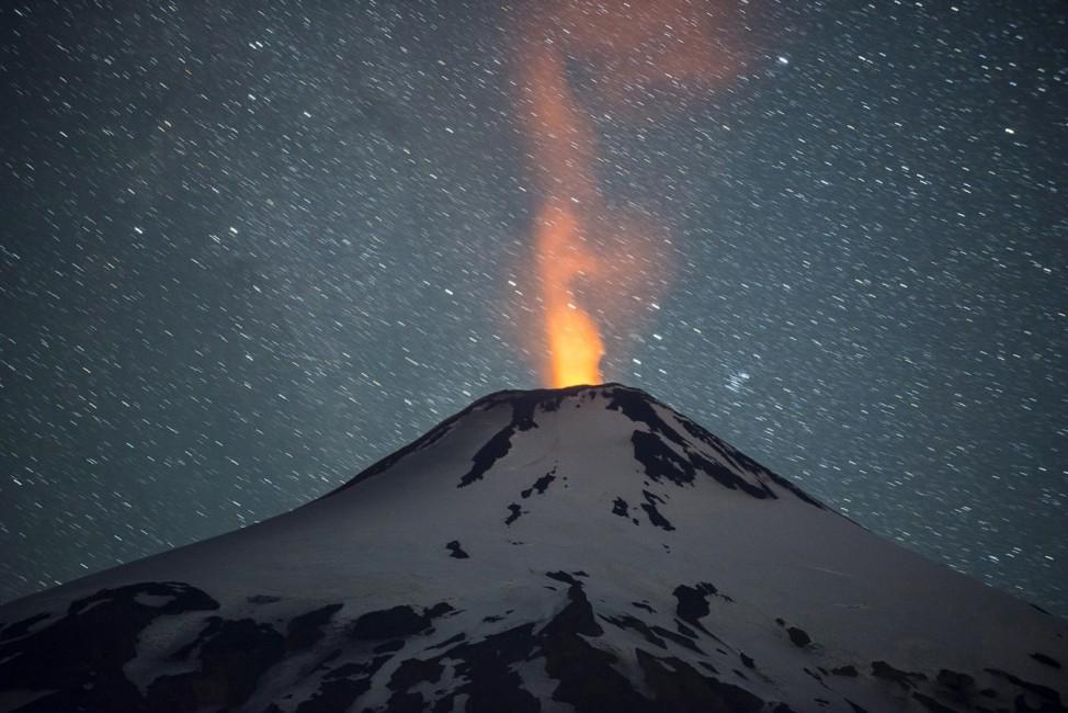 Villarrica volcano activity south of Chile