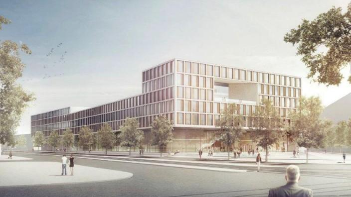 Justiz in München: Die Staatsanwaltschaften und Strafgerichte sollen vom Jahr 2020 an in diesem am Leonrodplatz geplanten Komplex untergebracht werden. Simulation: Frick, Krüger, Nusser