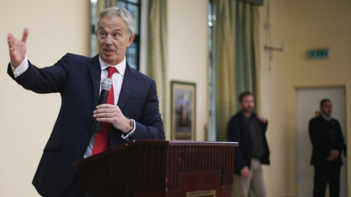 Quartet Representative to the Middle East and former British Prime Minister, Tony Blair, speaks during his meeting with Palestinian businessmen in Gaza City,