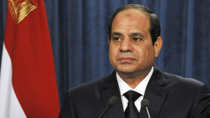 Egyptian President Abdel Fattah al-Sisi gives a speech at the presidential palace in Cairo