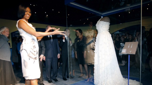 U.S. first lady Michelle Obama donates her 2009 Inaugural Ball gown to the Smithsonian's National Museum of American History