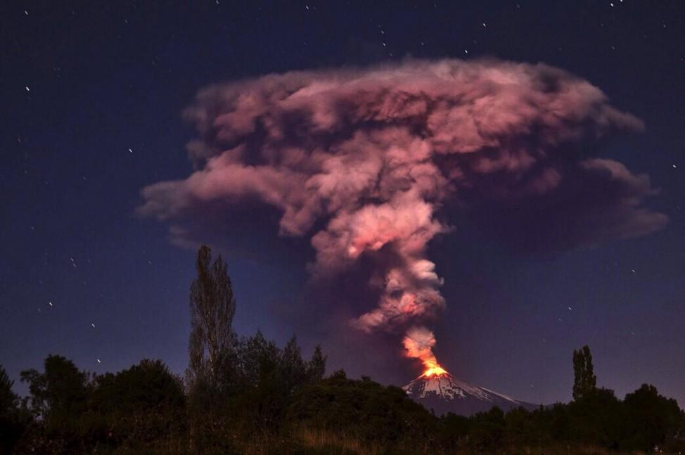 Volcano Villarrica erupting