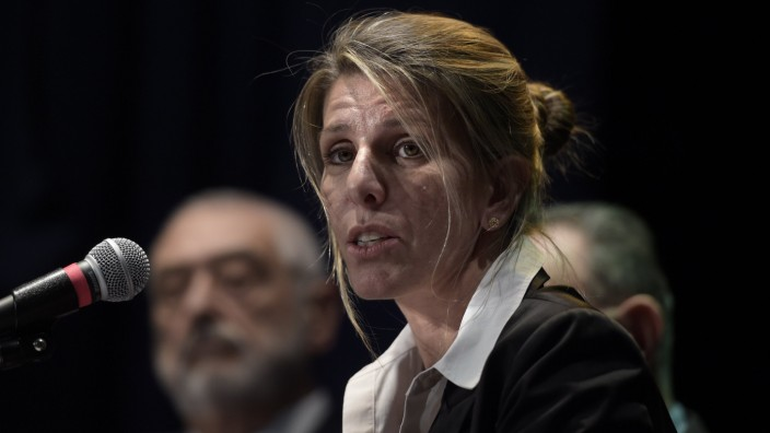 Argentine federal judge Sandra Arroyo Salgado, ex-wife of Argentine late prosecutor Alberto Nisman, offers a press conference on the results of the parallel investigation she ordered into his death