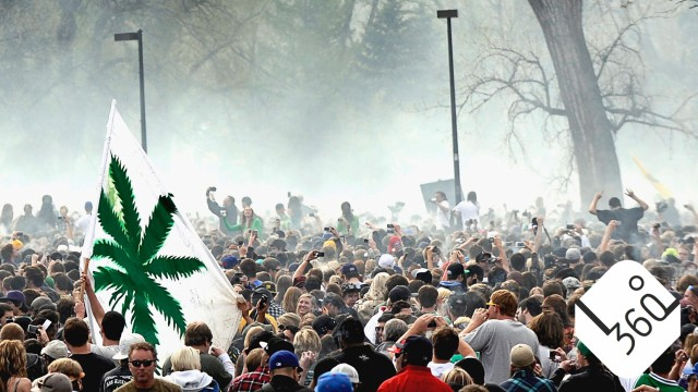 An estimated 12,000 to 15,000 people all exhale marijuana smoke as the clock hit 4:20pm during the 4/20 event at the University of Colorado in Boulder