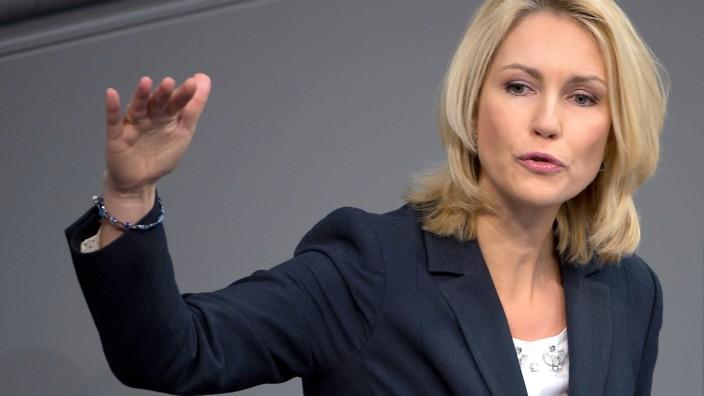 Die Bundesministerin für Familie, Frauen, Jugend und Senioren, Manuela Schwesig (SPD), während der Aussprache zur Frauenquote