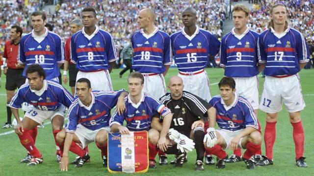Die französische Nationalmannschaft vor dem WM-Finale 1998