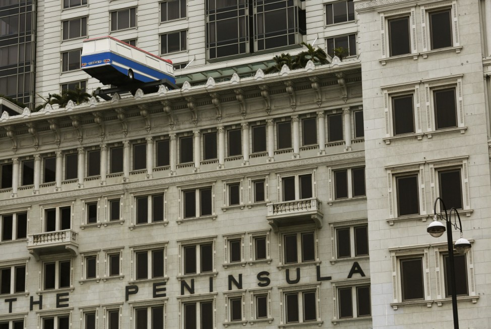 An installation, 'Hang On a Minute Lads, I've Got a Great Idea' by British artist Richard Wilson, is displayed at The Peninsula hotel in Hong Kong
