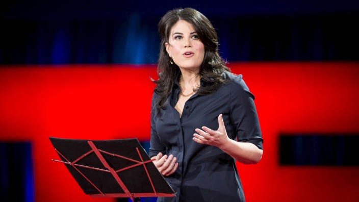Former White House intern Monica Lewinsky speaks at the TED2015 conference in Vancouver
