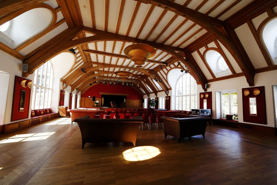 The concert hall of the hotel castle Elmau in Kruen near the southern Bavarian resort of Garmisch-Partenkirchen
