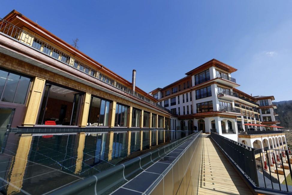 The spa area of the new building of the hotel castle Elmau in Kruen near the southern Bavarian resort of Garmisch-Partenkirchen