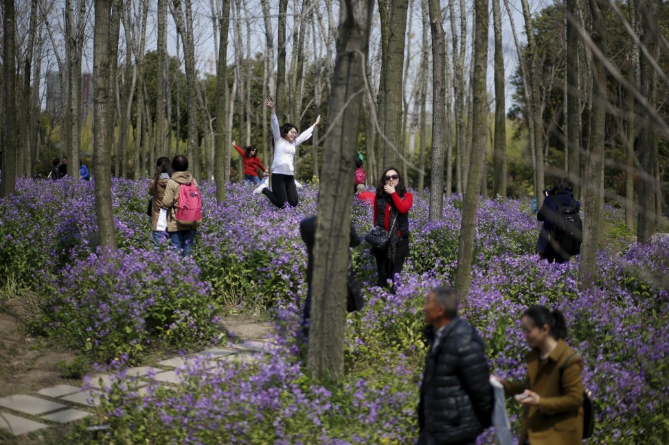 People visit a park with blooming flowers during spring in Shanghai