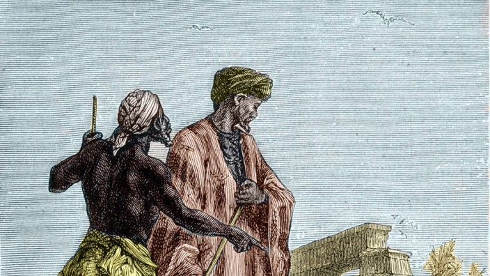 Reise-Pionier Ibn Battuta auf einer Abbildung in einem Buch von Jules Verne