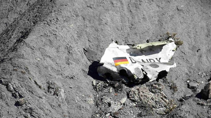 Wreckage of an Airbus A320 is seen at the crash site, near Seyne-les-Alpes