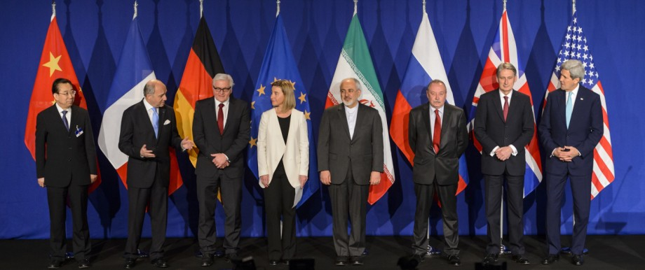 Kompromiss in Lausanne: Die Repräsentanten der P5+1-Gruppe und des Iran beim Familienfoto in Lausanne.