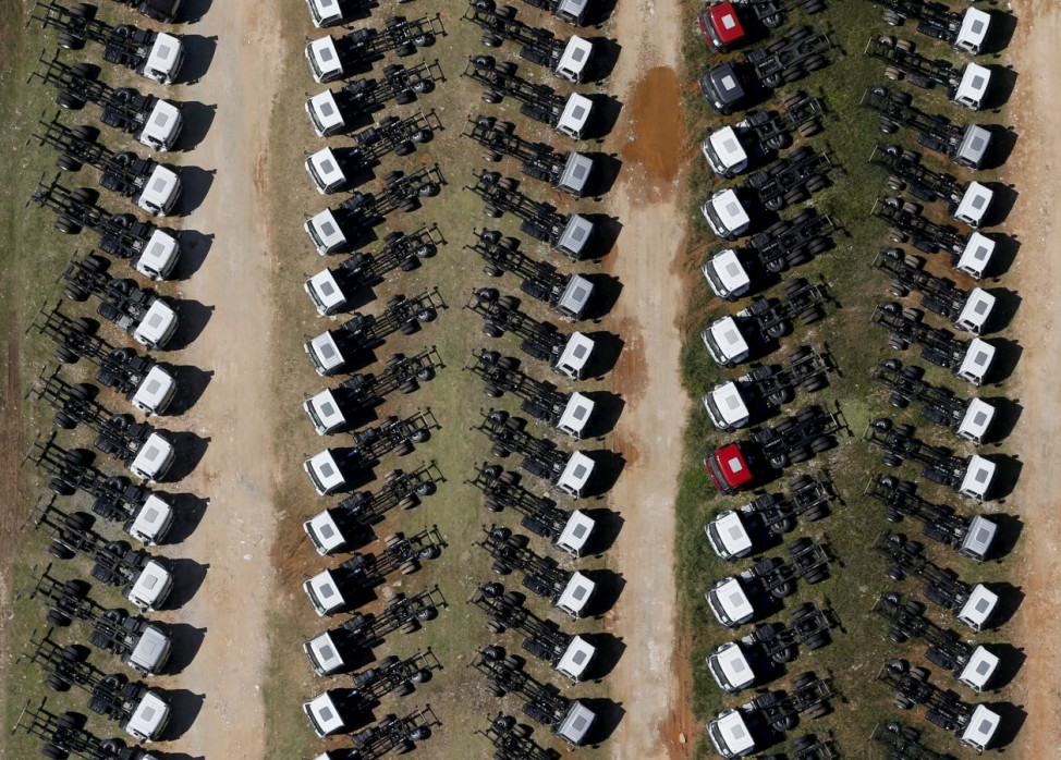 New Ford trucks are seen at a parking lot of the Ford factory in Sao Bernardo do Campo